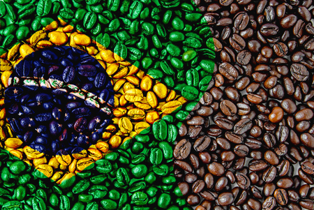 Coffee beans of Brazill flag for background photo