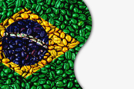 Coffee beans of Brazill flag,isolated on white photo