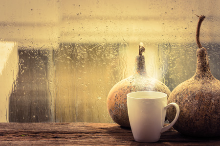 Hot Coffee cup with calabase beside window photo