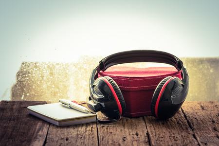 Headphones music memory. love music. vintage retro