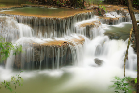 khamin: Dong Pee Sua Waterfall,Huay Mae Khamin, Kanchanaburi Province, Thailand Stock Photo