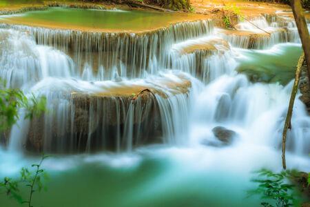 miracle leaf: Dong Pee Sua Waterfall,Huay Mae Khamin, Kanchanaburi Province, Thailand Stock Photo