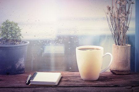 cold meal: Steaming coffee cup on a rainy day window background Stock Photo