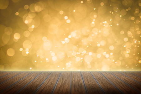 new years day: Empty perspective room with sparkling bokeh wall and wooden plank floor,Template mock up for display of your product