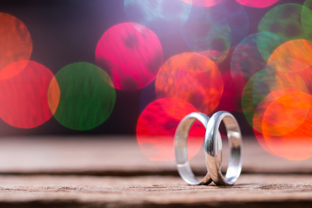 Wedding rings with bokeh background