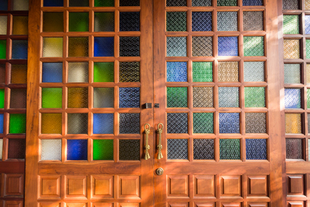 stain glass: bright and colorful texture from stain glass door Stock Photo