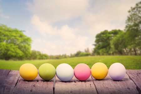 Row of Easter eggs on wood table in front green park