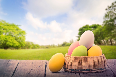 Easter eggs in the nest on rustic wood table,park and outdoor Stock fotó