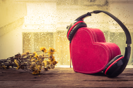 cool gadget: Headphones with red heart. love music. vintage retro