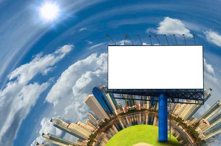 adboard: Big white blank billboard in modern city over blue sky background.