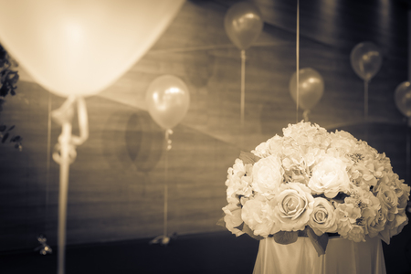 balloon bouquet: Bouquet flowers with balloon for decoration.monochome