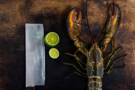 raw lobster: Raw lobster with lemon sliced on wood