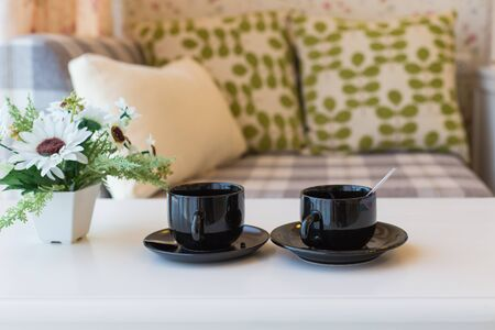 house with style: Couple cup of coffee on white table