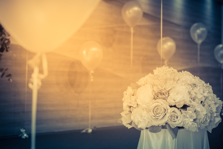 balloon bouquet: Bouquet flowers with balloon for decoration.vintage Stock Photo