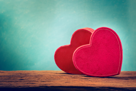 Couple red heart of love