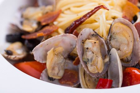 Thai style spicy spaghetti with the clams Stock Photo