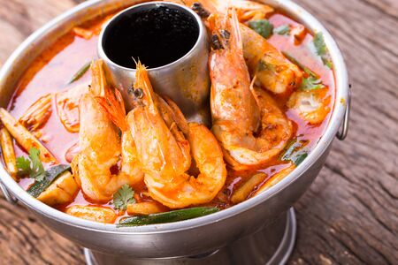 Spicy shrimp soup tom yum kung