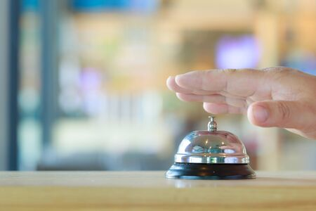 Restaurant bell vintage with hand Stock Photo