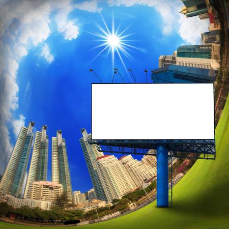 customizable: City building with blank billboard on blue sky, curve city