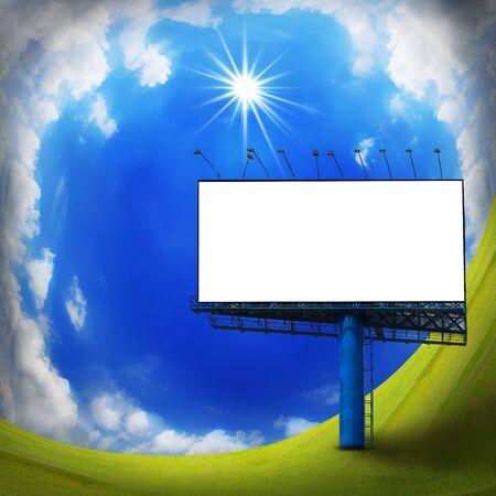 street lamp: Blank billboard on blue sky, curve sky Stock Photo
