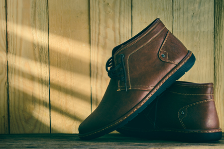 loafer: Still life with shoes on wooden backgropund Stock Photo