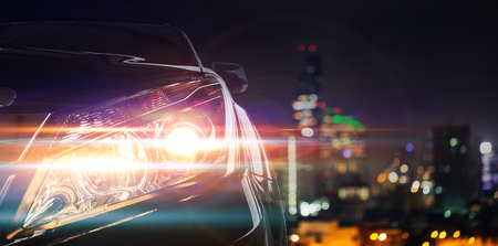 hight tech: Front of a sports car with the night city