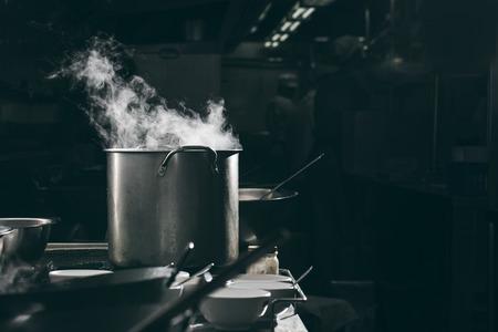 Steam hot pot in kitchen