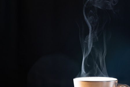 Close up steam with hot drink