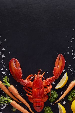 Steamed lobster prepared on black mable background with copy space