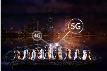 Transfer 4g to 5g concept change of internet connection technology. Chess piece competition concept   Stock fotó