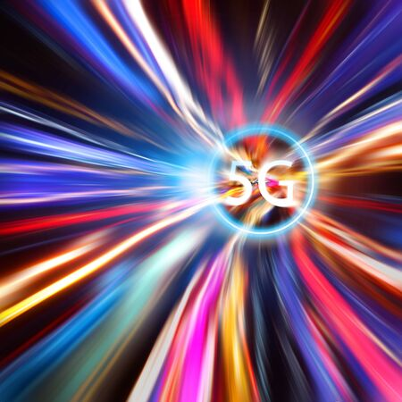 5g internet system with colorful lighting of speed for abstract background