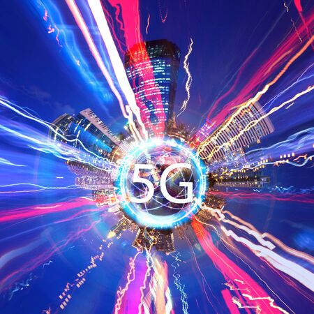 5g concept of internet system connection is faster technology. 5g with city 360 degree background