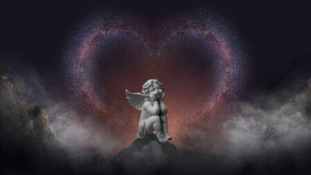 La voie lactée est belle d'amour avec la statue de cupidon