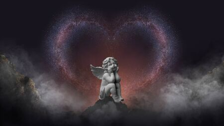 The Milky Way is beautiful of love with cupid statue Stock fotó