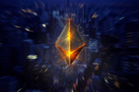 Ethereum symbol 3D on city bokeh background Stock fotó