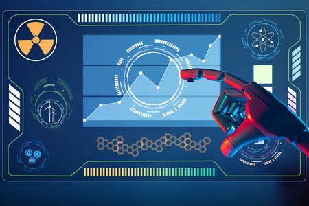 Hand robot artificial intelligence touch on screen of technology Reklamní fotografie