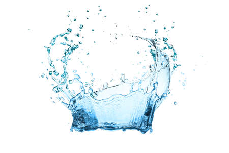Water splash isolated on whte with clipping path Stockfoto