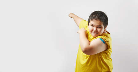 Vaccinated Young Showing Arm After Vaccine Injection, Copy space background