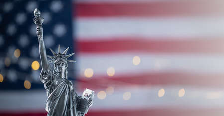Statue of Liberty on the background of flag usa with bokeh Standard-Bild