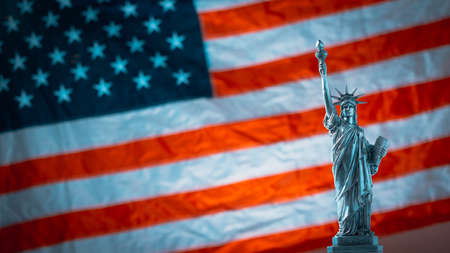 Statue of Liberty on the background of flag usa with firework