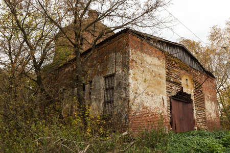 demolished: abandoned church of autumn trees