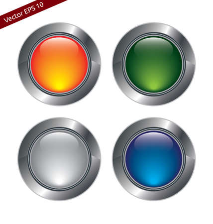 Blank Metal and Glass Buttons For Web, Applications or Design Use