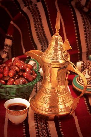 Traditional Arabic Ramadan setup for coffee with dates Stok Fotoğraf