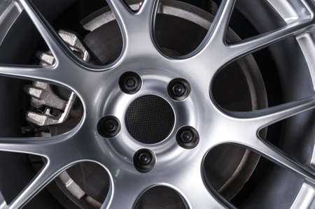 brake caliper: Luxury car wheel Stock Photo