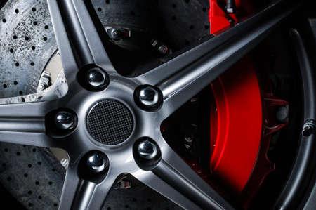 red sports car: Super car disc-brake