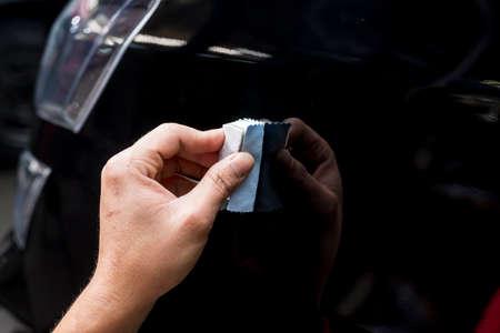 service station: car polishing series : Glass coating Stock Photo