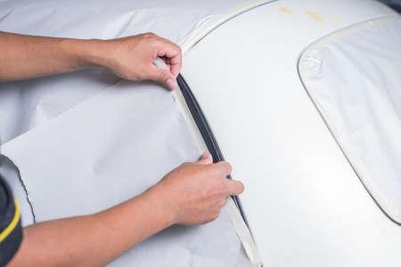 repaint: Auto body repair series : Masking car Stock Photo