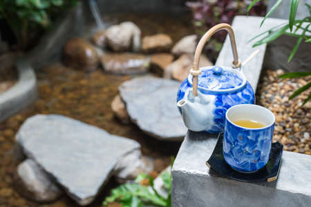 green herbs: Onsen series : Tea set in garden