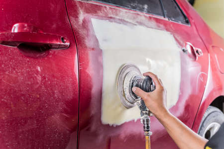buffing: Auto body repair series : Sanding filler Stock Photo