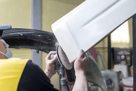 front bumper: Auto body repair series : Sanding front bumper